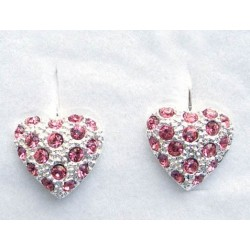 Náušnice Srdce Rose - růžová . Made with®Swarovski crystals - SWAROVSKI
