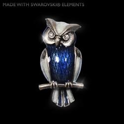 Brož Sova - Starostříbro s krystaly Swarovski crystals. Ručně malovaná 5x2 5cm