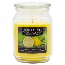 CANDLE-LITE Svíčka dekorativní ve skleněné dóze - Fresh Lemon Basil  510g