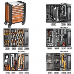 Montážní vozík na nářadí kovový vybavený - 253 dílů nářadí