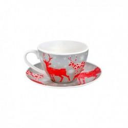 Šálek s podšálkem 180 ml, vánoční motiv, porcelán